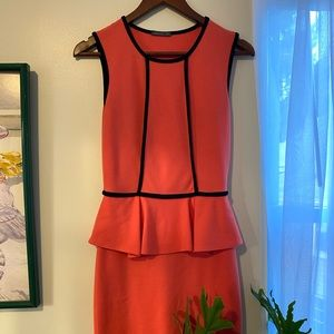 Coral and black fitted dress